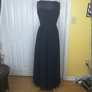Bill Levkoff navy formal gown style #1204